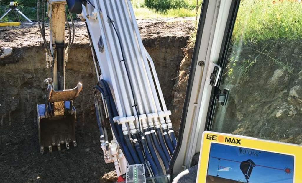 Instrument helps calculate depth and grade for septic installations