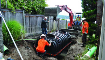 Installer Uses Technology To Place A Septic System On A Small Waterfront Lot On The Puget Sound